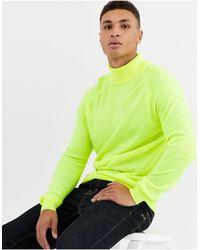 Threadbare Jersey con cuello vuelto en amarillo neón