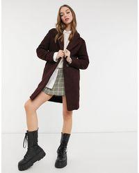New Look Классическое Пальто Винного Цвета Из Пряжи Букле -красный