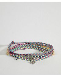 ASOS - Design Plaited Fabric Bracelet Pack With Charms - Lyst