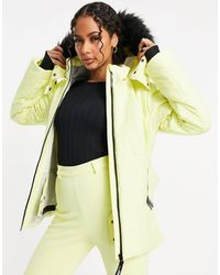 ASOS 4505 Ski Belted Jacket With Faux Fur Hood - Yellow