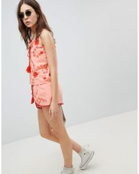 Glamorous Shorts With Wrap Front In Contrast Embroidery Co-ord - Pink