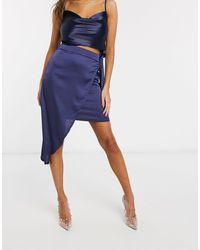Club L London Club L Assymmetric Wrap Satin Skirt - Blue