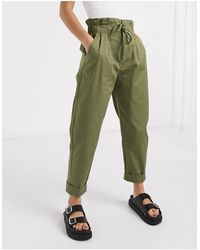 Bershka High Waisted Balloon Trousers - Green