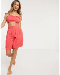 Monki Recycled Co-ord Longline Shorts - Pink