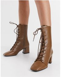 Monki Thelma Faux Leather Lace Up Heeled Boot - Brown