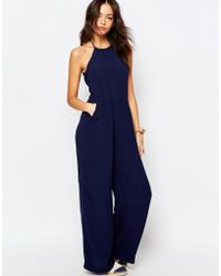 Esprit - Halter Neck Wide Leg Jumpsuit - Navy - Lyst