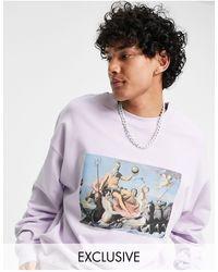 Reclaimed (vintage) Inspired - Sweat-shirt imprimé artistique - Lilas - Violet