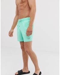 Hollister Icon Logo Solid Guard Swim Shorts In Mint - Green