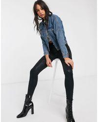 ONLY Veste en jean courte avec poches fonctionnelles - Bleu