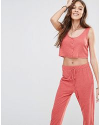 Honey Punch - Button Front Crop Top Co-ord - Lyst