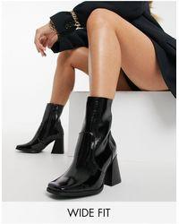 Raid Wide Fit Lorina Heeled Ankle Boots - Black