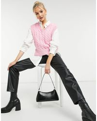New Look Вязаный Косами Жилет Розового Цвета -розовый Цвет