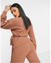 ASOS Co-ord Cardigan With Tie Detail - Brown