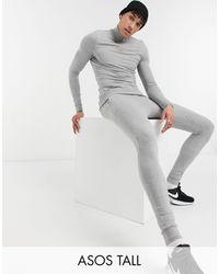 ASOS - Серый Меланжевый Облегающий Спортивный Костюм Со Свитшотом На Короткой Молнии Из Органического Хлопка - Lyst