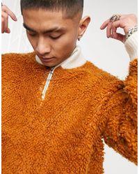 ASOS – Strickpullover aus Teddystoff mit halbem Reißverschluss - Orange