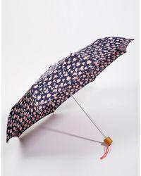 Fulton Superslim 2 Blurred Floral Pink Umbrella - Pink - Blue