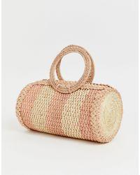 Kaanas Woven Barrel Bag - Pink