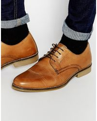 Red Tape Lace Up Shoes In Tan Leather - Tan - Brown