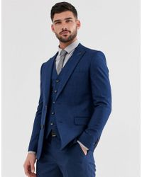 Original Penguin Original Slim Fit Blue Semi Plain Textured Suit Jacket