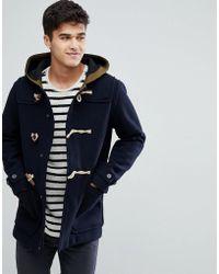 Jack & Jones Vintage Duffle Coat With Fleece Back Wool - Blue