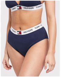Tommy Hilfiger 85 - Bikinibroekje Met Hoge Taille En Logo - Blauw