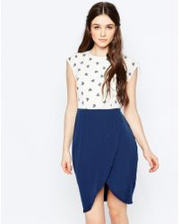 Sugarhill Ugarhill Boutique Heart Print Tulip Skirt Dress - Blue