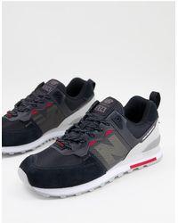 New Balance Черные Кроссовки С Красными Вставками 574-черный Цвет