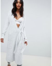 Micha Lounge - Wrap Maxi Cardigan With Tie Side - Lyst