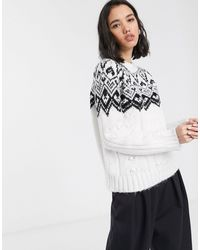 ONLY Cable Knit Jumper With Fairisle Detail - Multicolour