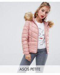 Vero Moda - Faux Fur Hooded Padded Jacket - Lyst