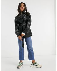 Pull&Bear Faux Leather Belted Shacket - Black