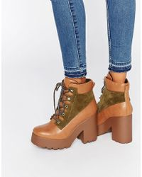 E8 - Wallis Lace Up Platform Heeled Ankle Boots - Lyst
