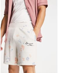 Abercrombie & Fitch Hip Script Logo Tie Dye Sweat Shorts - White