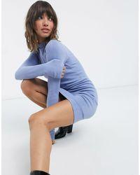 French Connection Голубое Короткое Платье С Круглым Вырезом -синий
