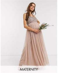 Maya Maternity Bridesmaid Sleeveless Square Neck Maxi Tulle Dress With Tonal Delicate Sequin Overlay - Multicolour