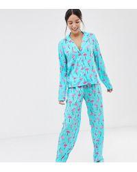 ASOS Asos Design Tall Flamingo Trouser Pyjama Set In 100% Modal - Blue