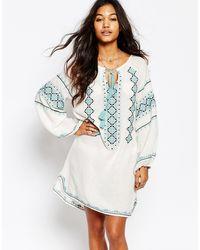 Star Mela - Mayra Dress With Jade Embroidery - Ecru/ Jade - Lyst