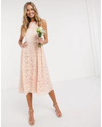 Oasis Bridesmaid Lace Skater Dress - Pink