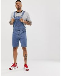 ASOS Denim Tuinbroekshort In Mid Wash - Blauw