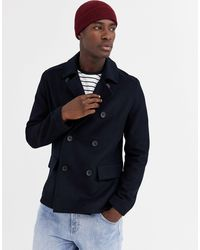 French Connection Wool Blend Pea Coat - Blue