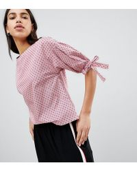 Esprit Polka Dot And Stripe Shell Top With Tie Sleeves - Pink