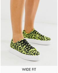 ASOS Wide Fit Day Light Chunky Flatform Lace Up Trainers In Lime Leopard - Green