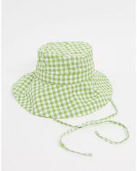 Monki Хлопковая Панама В Зеленую Клетку -зеленый