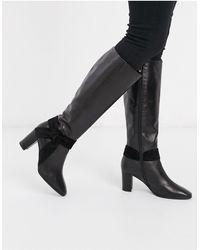 Karen Millen Florence Leather High Knee Boots - Black