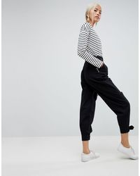 ASOS Peg Pants With Buckle Detail - Black