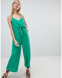 New Look Tie Front Wide Leg Jumpsuit - Green
