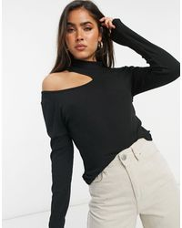 Vila High Neck Top With Cut Out Detail - Black