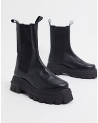 ASOS Aqum Premium Leather Chunky Chelsea Boots - Black