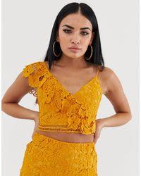 Love Triangle One Shoulder Crochet Crop Top - Yellow