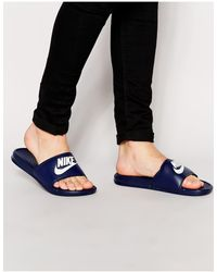 Nike Темно-синие Шлепанцы Benassi Jdi 343880-403-голубой - Синий